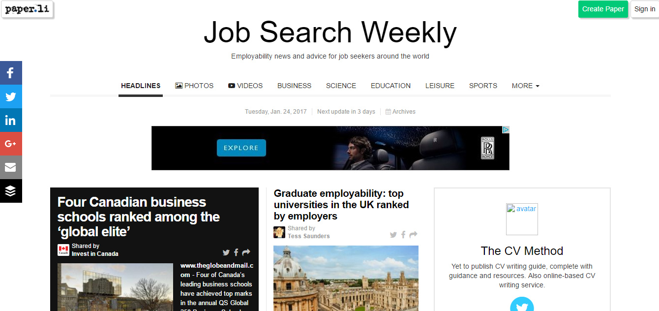job search weekly the cv method